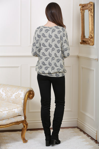 Grey Leaf Print Knit Top - LadyVB   s.r.o - 3