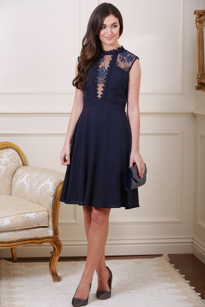 Ellie Navy Sleeveless High Neck Lace Skater Dress - LadyVB   s.r.o - 1