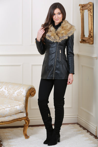 Clara Leather Zip Up Black Jacket with Detachable Fur Collar - LadyVB   s.r.o - 4