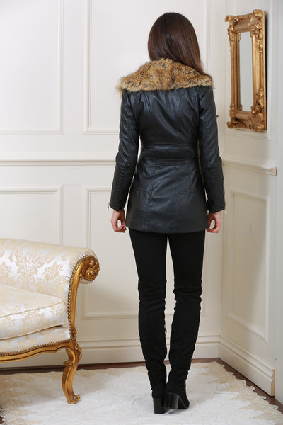 Clara Leather Zip Up Black Jacket with Detachable Fur Collar - LadyVB   s.r.o - 3