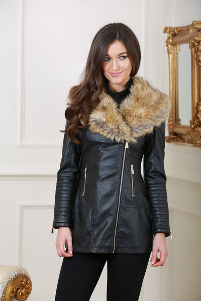 Clara Leather Zip Up Black Jacket with Detachable Fur Collar - LadyVB   s.r.o - 1
