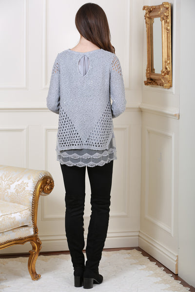 Ava Grey Embellished Over-sized Knit Jumper - LadyVB   s.r.o - 3