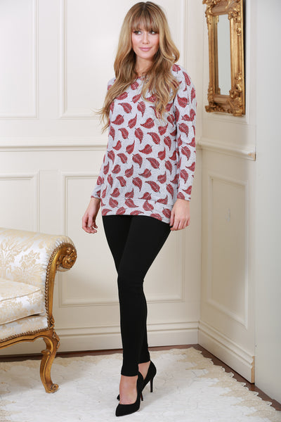 Wine Leaf Print Knit Top - LadyVB   s.r.o - 1