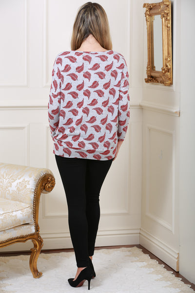 Wine Leaf Print Knit Top - LadyVB   s.r.o - 2