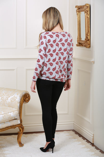 Wine Leaf Print Knit Top - LadyVB   s.r.o - 3