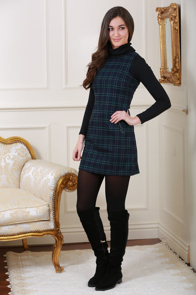 Georgina Navy & Green Pinafore Dress - LadyVB   s.r.o - 1
