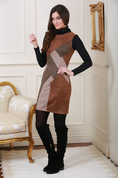 Sally Suedette Panelled Retro Brown Dress - LadyVB   s.r.o - 1