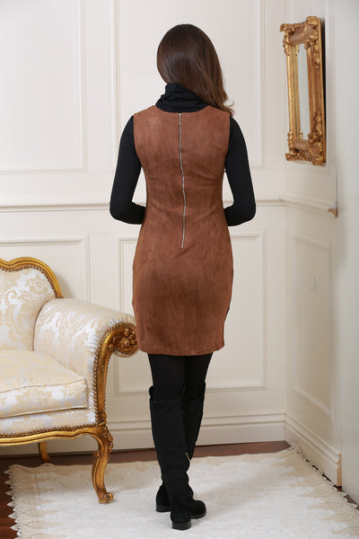 Sally Suedette Panelled Retro Brown Dress - LadyVB   s.r.o - 3
