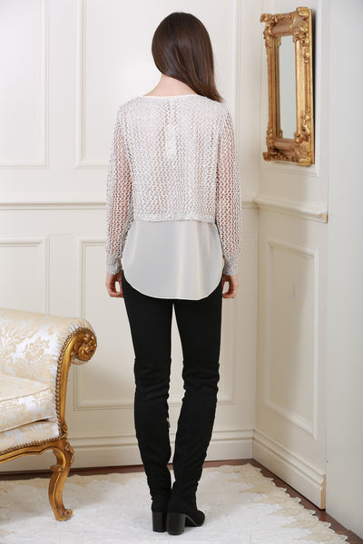 Cream Metallic Net Jumper - LadyVB   s.r.o - 2