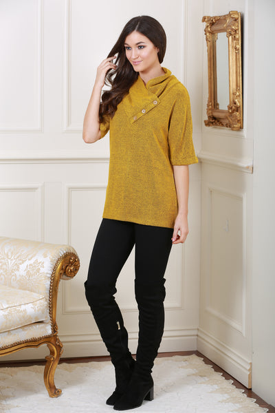 Nell Mustard Cosy Knit Jumper top - LadyVB   s.r.o - 1