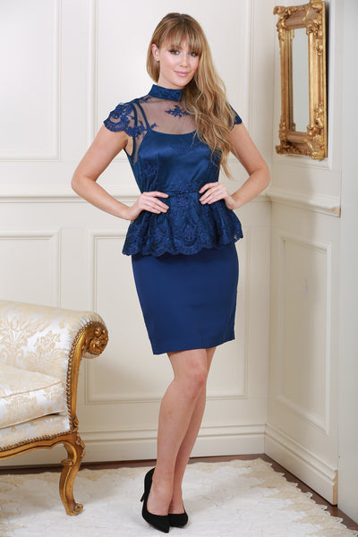 Alma Lace Overlay Navy Dress - LadyVB   s.r.o - 1