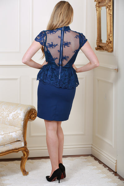 Alma Lace Overlay Navy Dress - LadyVB   s.r.o - 2