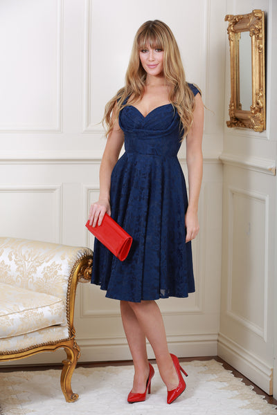 Marissa Navy Lace Midi Dress - LadyVB   s.r.o - 1