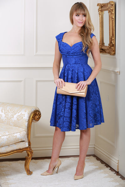 Marissa Royal Blue Lace Midi Dress - LadyVB   s.r.o - 1