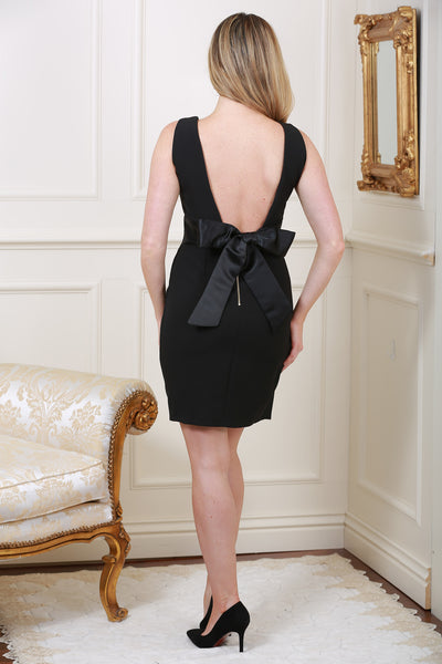 Natasha Black Sleeveless Black Waistband Bow Tie Back Dress - LadyVB   s.r.o - 2