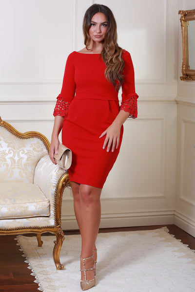 Uma Red Tulip Midi Dress with Lace Sleeves - LadyVB   s.r.o - 1