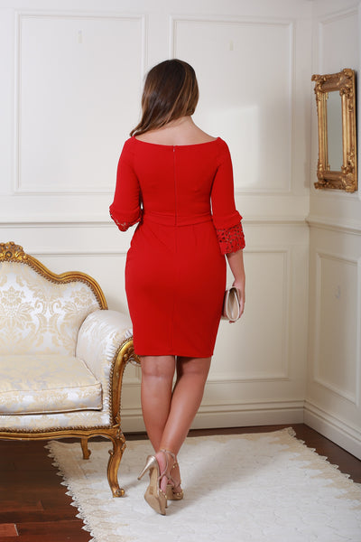 Uma Red Tulip Midi Dress with Lace Sleeves - LadyVB   s.r.o - 2
