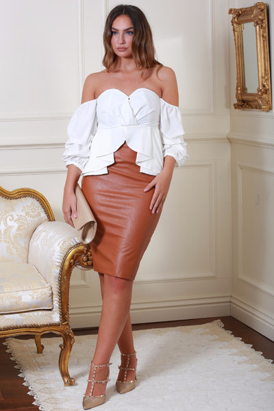Mika Tan Leather Midi Skirt - LadyVB   s.r.o - 2