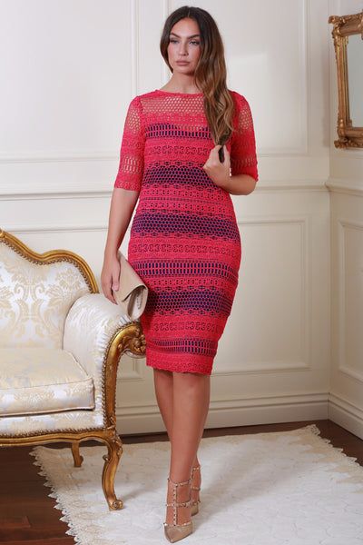 Prue Pink and Navy Crochet Panel Insert Lace Midi Dress - LadyVB   s.r.o - 5