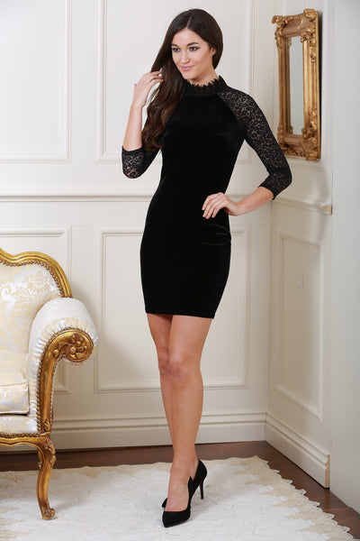 Sia Black Velvet and Lace Dress - LadyVB   s.r.o - 1