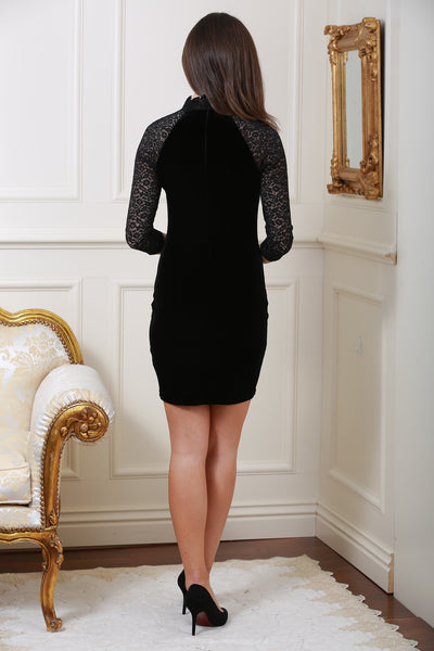 Sia Black Velvet and Lace Dress - LadyVB   s.r.o - 5