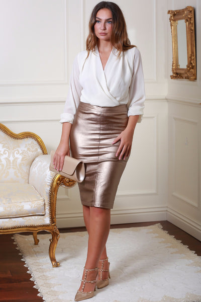 Hillery Bronze Gold Leather Look Pencil Skirt - LadyVB   s.r.o - 1
