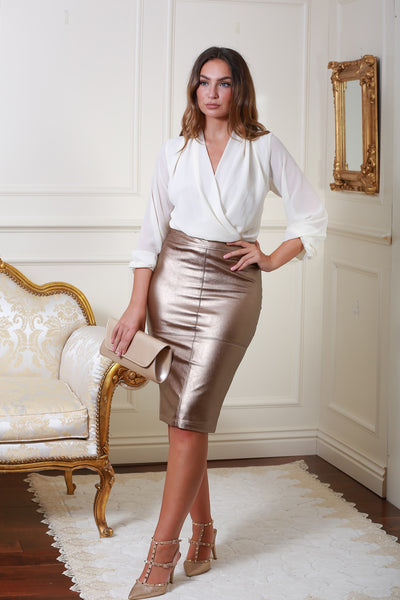 Hillery Bronze Gold Leather Look Pencil Skirt - LadyVB   s.r.o - 2