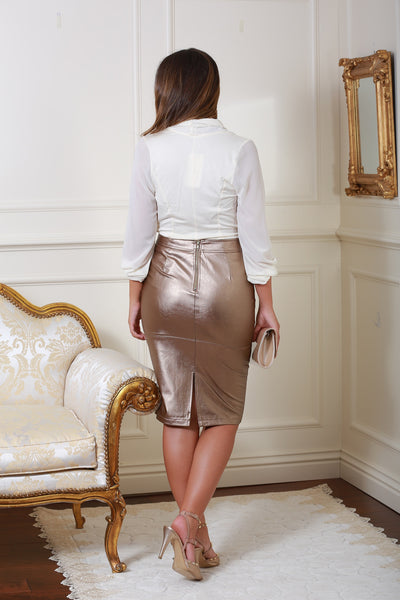 Hillery Bronze Gold Leather Look Pencil Skirt - LadyVB   s.r.o - 3