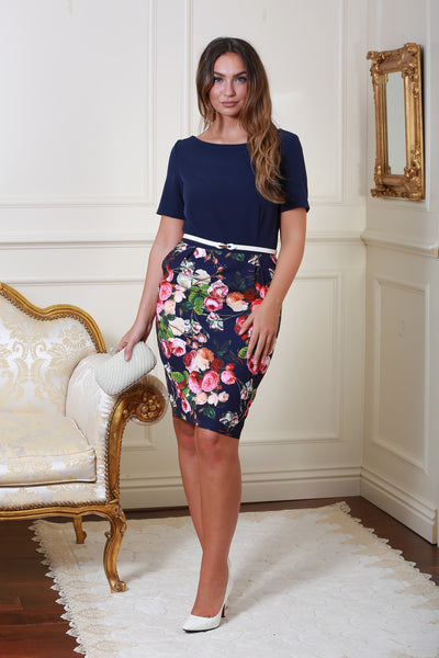 Kelly Navy Autumn Floral Dress - LadyVB   s.r.o - 4