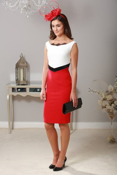 Miroslava Pencil Dress with Lace and Satin Detail - LadyVB   s.r.o - 1