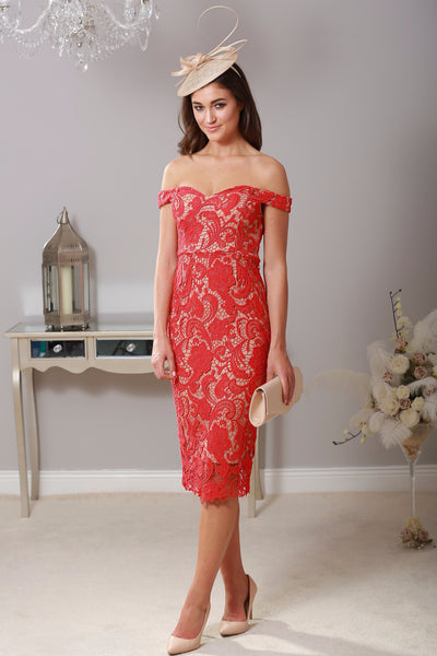 Zoe Red Lace Dress - LadyVB   s.r.o - 1