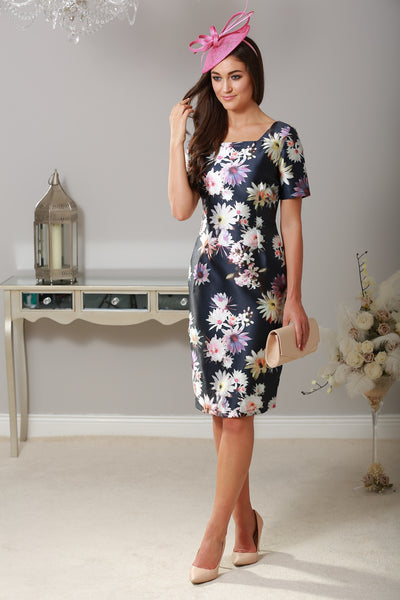 Murray Navy Floral Cap Sleeve Dress - LadyVB   s.r.o - 1