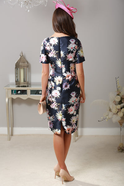 Murray Navy Floral Cap Sleeve Dress - LadyVB   s.r.o - 2