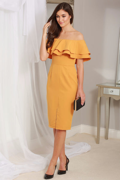 Cathy Mustard Off the Shoulder Ruffle Dress - LadyVB   s.r.o - 1