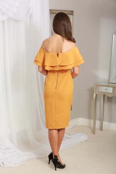 Cathy Mustard Off the Shoulder Ruffle Dress - LadyVB   s.r.o - 2