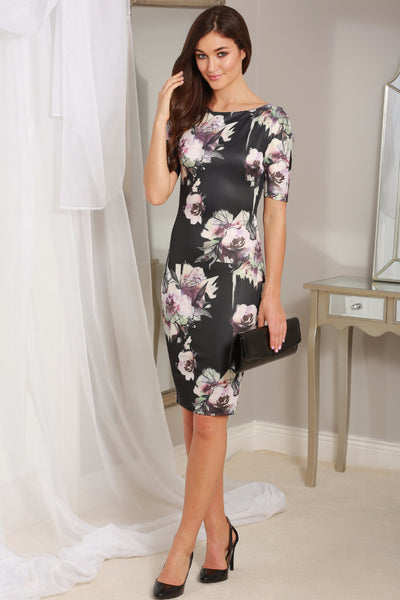 Rianne Black Floral 3/4 Sleeve Midi Dress - LadyVB   s.r.o - 1