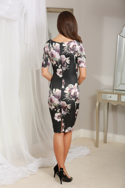 Rianne Black Floral 3/4 Sleeve Midi Dress - LadyVB   s.r.o - 4