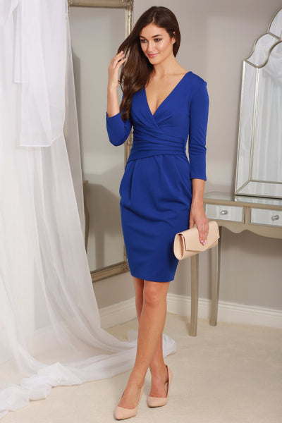 Maggie Royal Blue Fitted Pleated Midi Dress - LadyVB   s.r.o - 1