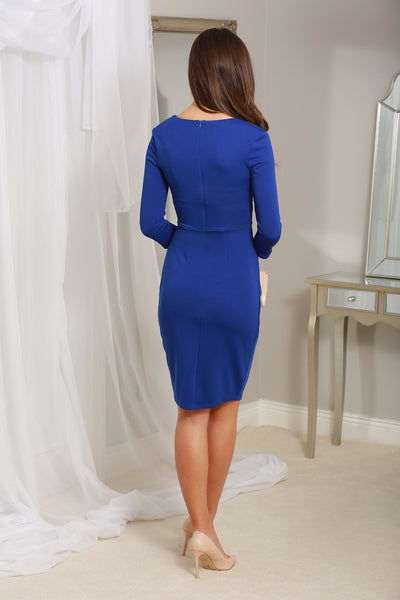 Maggie Royal Blue Fitted Pleated Midi Dress - LadyVB   s.r.o - 2