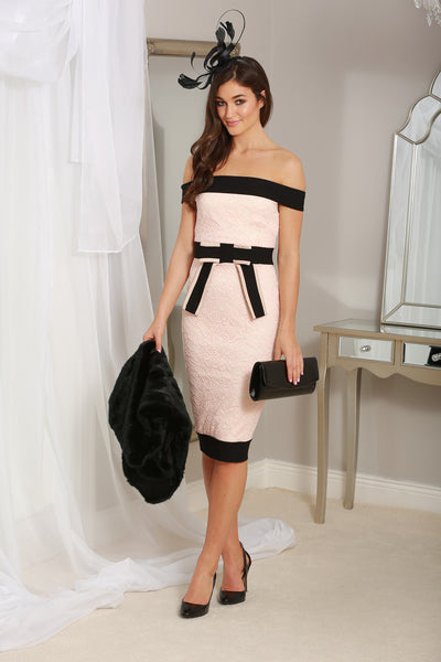 Lilianna Black and Blush Bardot Dress - LadyVB   s.r.o - 1