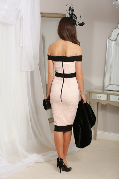 Lilianna Black and Blush Bardot Dress - LadyVB   s.r.o - 2