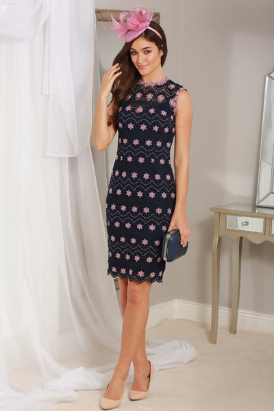Marie Navy and Pink Crochet Dress - LadyVB   s.r.o - 1