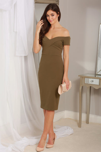Andrea Khaki Off the Shoulder Dress - LadyVB   s.r.o - 1