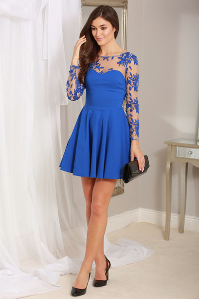 Maria Royal Blue Mesh Sleeve Skater Dress - LadyVB   s.r.o - 1