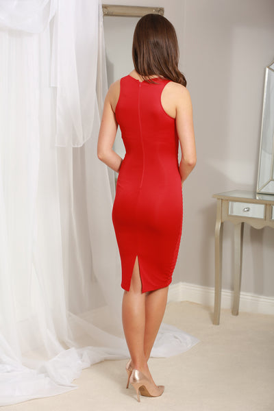Gigi Red Ladder Bodycon Midi Dress - LadyVB   s.r.o - 2