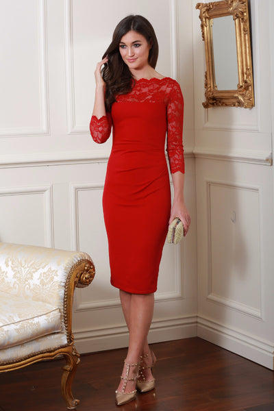 Bethany Red Fitted Midi Lace Dress - LadyVB   s.r.o - 1