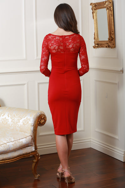 Bethany Red Fitted Midi Lace Dress - LadyVB   s.r.o - 3