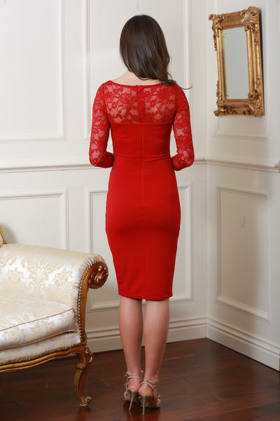 Bethany Red Fitted Midi Lace Dress - LadyVB   s.r.o - 4
