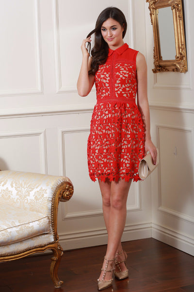 Joanie Red  Lace Dress - LadyVB   s.r.o - 1