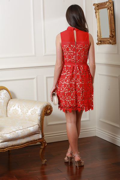Joanie Red  Lace Dress - LadyVB   s.r.o - 3